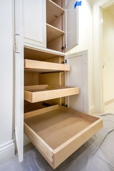 Pull-out doors instead of too deep shelves - allows access to the farthest back space