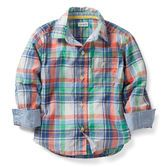 Plaid long-sleeve cotton shirt is a classic for his wardrobe. Pre-washed relaxed fit is just thing for his easy going personality.