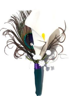 Check out this item in my Etsy shop https://www.etsy.com/listing/236517671/peacock-calla-teal-and-purple-best-man