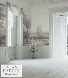 Bathroom Design Inspiration, Interior Inspiration, Scenic Wallpaper, Wallpaper Murals, Rustic Living Room Furniture, Bright Rooms, Classic Bathroom, Grisaille, Interior Exterior