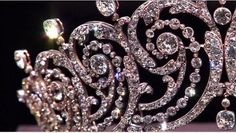 a close up of the 1902 Cartier tiara made for Adele, Countess of Essex; later borrowed by Lady Clementine Churchill for the Coronation of Elizabeth II in 1953