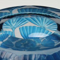 Haeckel Diatom Light Blue Bowl II by Katharine Coleman. 2012. Blown glass with wheel-engraving.