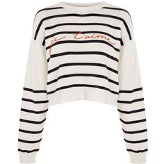 Topshop 'Je T'aime' Striped Jumper ($49) ❤ liked on Polyvore featuring tops, sweaters, stripes, white sweater, white jumper, topshop sweater, white top and rayon tops