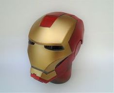 Build an Iron Man Helmet for Cheap!: 10 Steps (with Pictures) Spray Paint Cans, Gold Spray Paint, Red Paint, Iron Man Helmet, Foam Crafts, Superhero, Building, Pictures, Helmets