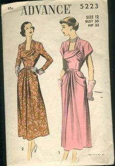 Advance 5223; late 1940s; Unprinted Pattern. View 1, Dress with Short Sleeves - Self Belt. View 2, Dress with Long or Three-quarter Sleeves - Purchased Belt.