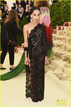 Zoe Kravitz's at Met Gala 2018 in Saint Laurent lace dress.