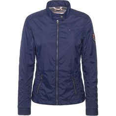 Tommy Hilfiger Menny jacket featuring polyvore, fashion, clothing, outerwear, jackets, navy, women, lightweight nylon jacket, navy blue jacket, blue jackets, motorcycle jacket and tommy hilfiger jacket