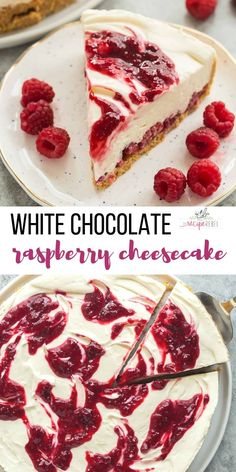 This White Chocolate Raspberry Cheesecake is an easy no bake cheesecake recipe for summer! It is SO smooth and creamy and you don't ever have to turn on the oven. It's the perfect no bake dessert for showing off summer berries — strawberries or blueberries work just as well! Includes step by step RECIPE VIDEO  #cheesecake #dessert #nobake #chocolate #raspberry #easy #recipe