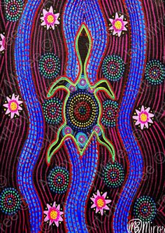 The Official Website ~ *Artworks by Mirree* - Dreamtime Snake-Head Turtle with lotus Emotions Contemporary Aboriginal Art Print by Mirree Aboriginal Dot Painting, Aboriginal Artists, Aboriginal Culture, Indigenous Australian Art, Indigenous Art, Kunst Der Aborigines, Frida Art, Native Art, Art Plastique