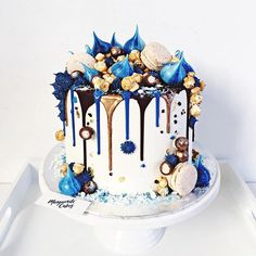 Cake inspiration for my upcoming secret royal romance. She's a ripped jeans, no-nonsense baker who creates things of beauty just like these. Birthday Drip Cake, Blue Birthday Cakes, Beautiful Birthday Cakes, Beautiful Cakes, Amazing Cakes, Birthday Cupcakes, Happy Birthday, 11th Birthday, Pretty Cakes