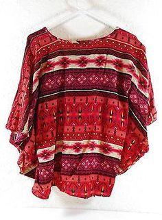 HANNAH Red Aztec Boho Batwing Crop Top Blouse Size Large B254