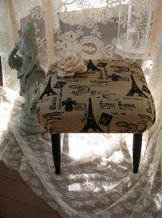 French Script Burlap Foot stool / Burlap Ottoman/ by Fannypippin,