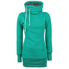 """Sweat à capuche """"Smart""""  Ce sweat-shirt à capuche pour Femme donne un aspect nonchalant avec sa longueur de 80 cm. Ce sweat-shirt à capuche """"Smart"""" vert est équipé d'une capuche latérale, de deux poches latérales et d'une finition bord-côte aux poignets et à la base."""