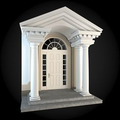 Buy Wall 076 by ThemeREX on High quality polygonal model of a building wall.max Max 2010 for separate models) . Classical Architecture, Architecture Plan, Architecture Details, House Gate Design, House Front Design, Window Design, Door Design, House Pillars, Classic House Design
