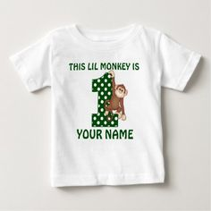 1st Birthday Boy Monkey Personalized Shirt - tap, personalize, buy right now!