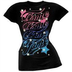 Offiical Fame Silver Quad Logo Stars T Shirt for Ladies