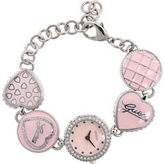 pink guess bracelet watch