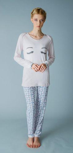 Pigiama da donna 49 dalla Collezione Autunno Inverno di Pigiamiamoci in cotone #caldo #comodo #trendy #opslamiamagliahalecigliafinte #Pigiamiamoci
