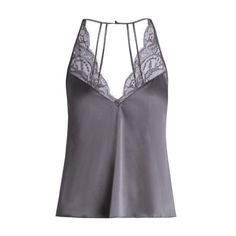 Fleur of England Eclipse silk-blend satin cami top ($175) ❤ liked on Polyvore featuring tops, grey, grey camisole, satin tank top, low back tank top, floral tank and grey tank