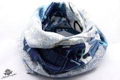 Patchwork-Loop-Schal in Lieblingsfarbe blau weiß aus der Lieblingsmanufaktur: Dein Patchwork - Lieblingsstück für den Alltag auf DaWanda.com