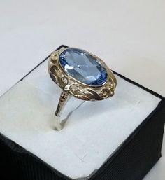 Vintage Halsschmuck - 17,8 mm Art Deco Ring Silber 925 Aquamarin SR396 - ein Designerstück von Atelier-Regina bei DaWanda