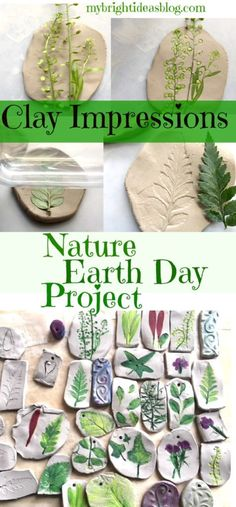 Nature Craft - Perfect for Earth Day Activity - Clay Imprints with Plants and Flowers - My Bright Ideas Earth Day Projects, Earth Day Crafts, Nature Crafts, Projects For Kids, Craft Projects, Craft Ideas, Fun Ideas, Earth Craft, Garden Projects