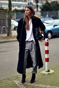 long coat, tee, baggy grey denim & boots #style #fashion