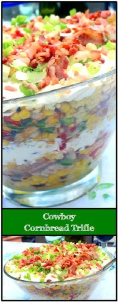 MAN UP. Well, Cowboy up at least! You& heard of those British fancy layered desserts (Trifle)? Well, here& the Cowboy version. Potluck Side Dishes, Side Dishes For Bbq, Vegetable Side Dishes, Side Dish Recipes, Camping Side Dishes, Church Potluck Recipes, Potluck Meals, Southern Side Dishes, Party Side Dishes