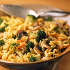 Orzo-Broccoli Pilaf. This was really good and would compliment a variety of meals. Different vegetables would be good to use as well.