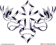 Cross tattoo with 2 swallows holding a banner