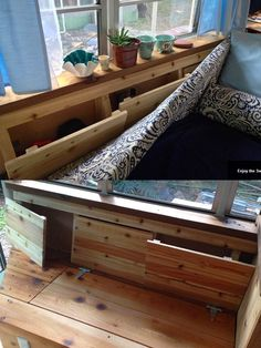 Storage ideas from a converted school bus now the full-time home of a young couple. Shared and owned by Kelly Ross.