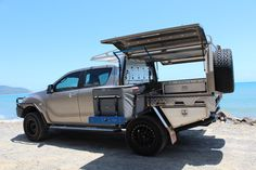 MAZDA Aluminium Canopy with Dual Spare Tyres - Norweld Aluminium Ute Trays and Aluminium Canopies Custom Trailers, Camper Trailers, Campers, Camping Set Up, Camping Gear, Ute Canopy, Canopy Cover, Canopy Tent, Rim And Tire Packages