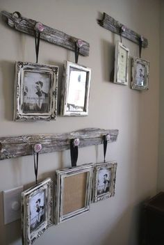 Best Country Decor Ideas - Antique Drawer Pull Picture Frame Hangers - Rustic Farmhouse Decor Tutorials and Easy Vintage Shabby Chic Home Decor for Kitchen, Living Room .. #homedecor