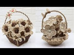 4 Beautiful Jute Flower Basket | Home decorating ideas handmade - YouTube Twine Crafts, Diy And Crafts, Jute Flowers, Quilling Flowers, Rustic Wedding Centerpieces, Flower Basket, Christmas Angels, Bottle Crafts, Flower Making