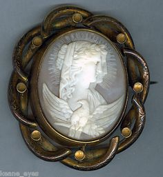 Antique Carved Cameo Eos & Nyx Goddess of Day & Night Mourning Swivel Brooch Pin | eBay