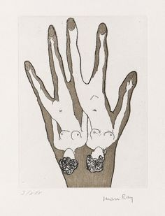 "redlipstickresurrected: "" Man Ray aka Emmanuel Radnitsky (American, 1890-1976, b. Philadelphia, PA, USA) - Sans Titre (Untitled) from Electro-Magie by Gui Rosey, 1969 Color Etchings with Aquatint """