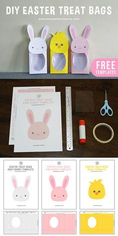 Super cute Easter Treat Bag patterns and DIY instructions. A simple craft to do with the kids or a great way to wrap up some Easter treats. Easter Gift Bags, Easter Gifts For Kids, Bunny Templates, Animal Templates, Easter Printables, Idee Diy, Treat Bags, Goodie Bags, Favor Bags