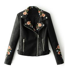Black Lapel Embroidery Floral Detail Leather Look Biker Jacket (1,665 THB) ❤ liked on Polyvore featuring outerwear, jackets, coats, leather jacket, tops, vegan leather moto jacket, faux-leather moto jackets, moto jacket, embroidered jackets and vegan motorcycle jacket