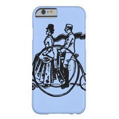 Vintage art, couple riding a bicycle, blue barely there iPhone 6 case.