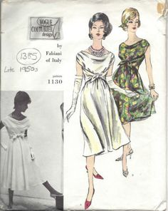 1950s-Vintage-VOGUE-Sewing-Pattern-B32-DRESS-1385-By-Fabiani-of-Italy