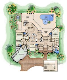 Villa Napoli Home Plan: 1 story luxury Mediterranean home floor plan with Tuscan architectural touches, see photos of front elevation and plan. Lanai and outdoor living space with pool detail. Tuscan House Plans, Coastal House Plans, Dog House Plans, House Plans One Story, Dream House Plans, House Floor Plans, Dream Houses, Cat Houses, Luxury Mediterranean Homes