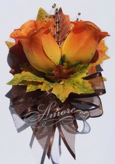 Orange Roses With Fall Maple Leaves Corsage-2 Roses Amore Collections http://www.amazon.com/dp/B00JJTUF1M/ref=cm_sw_r_pi_dp_.GhMtb15G011CFYM
