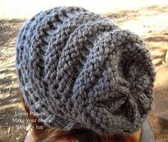 Back View of Grey Slouch Hat - a nice pattern for my knitting loom as I couldnt work out how to do a hat myself.... hurray and plenty of time to get looming before the winter...