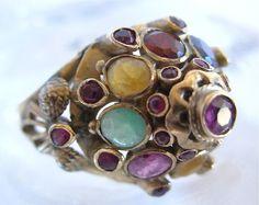Vintage 18K Gold Multi Colored Gem Stones Thai Princess Harem Ring Sz. 5-5 1/2