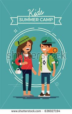 4f60c3f9467 Cool vector poster or banner template on kids summer camp with couple of  caucasian kids wearing backpacks and hats. Children summer vacation trip  concept ...
