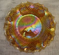 Lovely Indiana Glass Co Gold Carnival Glass hostess plate