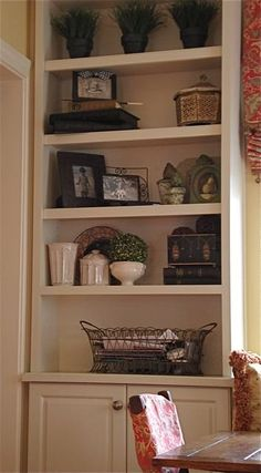 Bookcase decorating idea...since I really don't own any books...