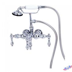 3-Handle Claw Foot Tub Faucet with Hand Shower in Polished Brass