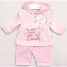 Baby Girls Pink Gingham Hooded Top Trouser Set Fleece Backed Various Sizes •…