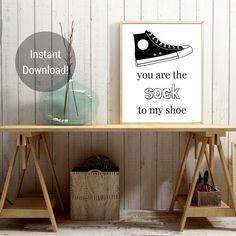 So stinkin cute, at least it wont be smelly! This art print is a great idea especially for a guy, its not too cutesy or sappy and its rather funny!  On the flip side it makes a great fitness fanatic gift as well, or lets be honest anyone who wears shoes :)  *THIS IS AN INSTANT DOWNLOAD* Nothing will be shipped to you. You download this item and print it yourself at home. You will also receive an FAQ for printing at home.  You get the following sizes with this download: ☆ 8 x 10 size  ☆ JOIN…